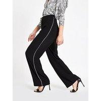 RI Petite Ri Petite Diamante Stripe Wide Leg Trouser - Black, Black, Size 14, Women