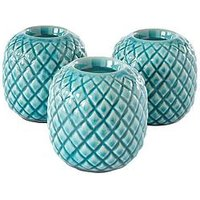 Product photograph showing Ideal Home Set Of 3 Teal Etched Candle Holders