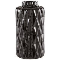 Product photograph showing Glazed Faceted Vase - Black