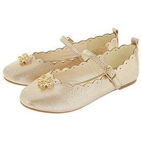 Monsoon Girls Christie Scalloped Bow Ballerina Shoe, Gold, Size 7 Younger