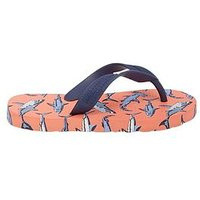 Joules Boys Shark Flip Flops - Orange, Orange, Size 9 Younger