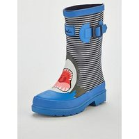Joules Boys Shark Stripe Welly, Blue, Size 10 Younger