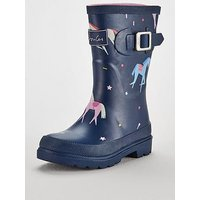 Joules Girls Unicorn Welly, Navy, Size 8 Younger