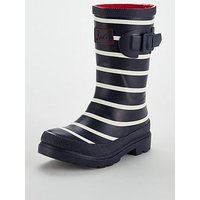 Joules Unisex Stripe Welly, Navy, Size 2 Older
