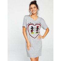 Mickey Mouse Mickey Needs Minnie Sleep Tee, Grey Marl, Size 12-14, Women