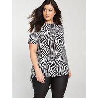 V by Very Curve Zebra Print Dipped Hem Top - Black/White , Zebra Print, Size 16, Women