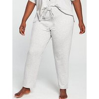 V by Very Curve Straight Leg Lounge Trouser - Grey, Grey Marl, Size 14, Women