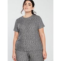 V by Very Curve Short Sleeve Rib Top - Charcoal, Charcoal, Size 16, Women