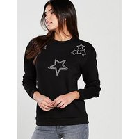 V by Very Star Embellished Sweat - Black , Black, Size 22, Women