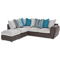 Product photograph showing Calluna Fabric Left Hand Scatter Back Corner Chaise Sofa And Footstool