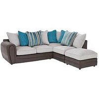Product photograph showing Calluna Fabric Right Hand Scatter Back Corner Chaise Sofa And Footstool