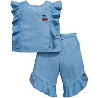 Mini V by Very Girls 2 Piece Denim Ruffle Cherry Cullote Outfit - Blue, Blue, Size Age: 9-12 Months, Women