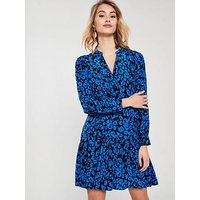 Whistles Dropped Hem Jungle Cat Dress - Blue