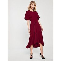 Whistles Textured Belted Open Back Dipped Midi Dress - Red
