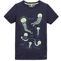 Joules Boys Ray Glow In The Dark Jellyfish T-Shirt - Navy, Navy, Size 3 Years