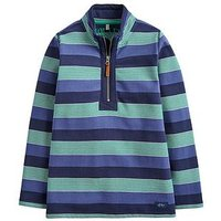 Joules Boys Dale Stripe Half Zip Sweat, Navy, Size 3 Years