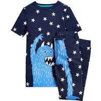 Joules Boys Raoul Monster Pyjama Set, Navy, Size Age: 7-8 Years