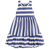 Joules Girls Juno Stripe Drop Hem Dress, Cream, Size 11-12 Years, Women