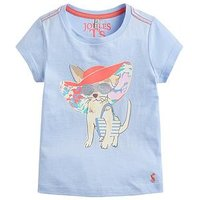 Joules Girls Pixie Cool Dog Short Sleeve Tshirt, Sky Blue, Size Age: 5 Years, Women