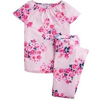 Joules Girls Kindra Floral Pyjama Set, Pink, Size Age: 7-8 Years, Women