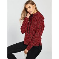 V by Very Leopard Print Hoodie - Red , Red, Size 18, Women