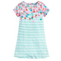 Joules Girls Riviera Luxe Spot Short Sleeve Dress - Turquoise, Turquoise, Size 4 Years, Women