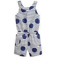 Joules Girls Alexa Cross Back Playsuit - Blue, Blue, Size 5 Years, Women