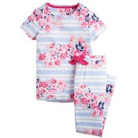 Joules Girls Lark Floral Stripe Pyjama Set - Floral Print, Blue, Size Age: 7-8 Years, Women