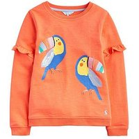 Joules Girls Tiana Toucan Frill Sweatshirt - Pink, Pink, Size Age: 11-12 Years, Women