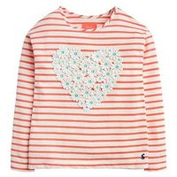 Joules Girls Cora Stripe Heart T-shirt - Pink, Pink, Size Age: 6 Years, Women