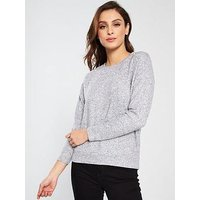 V by Very Pearl Embelished Snit Jumper, Grey, Size 18, Women