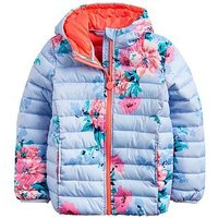 Joules Girls Kinnaird Printed Coat - Blue, Blue, Size 4 Years, Women