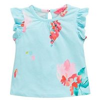 Joules Toddler Girls Kaela Floral Frill T-Shirt - Aqua, Aqua, Size Age: 1 Year, Women