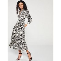Karen Millen Zebra Print Shirt Dress - Black White