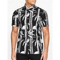 Edwin Nimes Bamboo Print Short Sleeve Shirt - Black