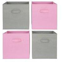 Jazz Set of 4 Storage Boxes, Grey/Blue