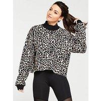 Michelle Keegan High Neck Leopard Sweat - Print, Print, Size 14, Women