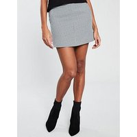 V by Very Check Skirt - Monochrome , Mono, Size 10, Women