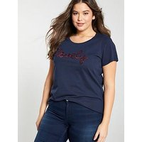 JUNAROSE Curve Jasine Roxy T-Shirt - Navy, Navy, Size 14-16, Women