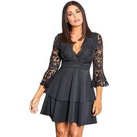 Sistaglam Loves Jessica Sistaglam Loves Jessica Wright Fluted Sleeve Lace Top Skater Dress, Black, Size 12, Women