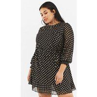 Oasis Curve Foil Spot Chiffon Dress - Black