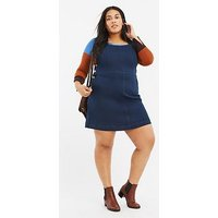 Oasis Curve Oasis Curve Button Side Denim Pinny Dress, Dark Wash, Size 24, Women