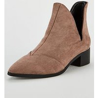 Lost Ink Lost Ink Gray Flat Ankle Boot With V Cut Wide Fit, Grey, Size 8, Women