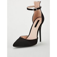Lost Ink Wide Fit Jules Heeled Stiletto Court Shoes - Black