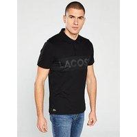 Lacoste Branded Polo Shirt - Black, Black, Size 6, Men