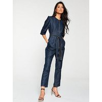 V by Very Denim Tencil Jumpsuit - Dark Wash, Darkwash, Size 16, Women