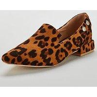 Lost Ink Bonnie Double Stud Flat Shoe - Animal, Animal, Size 3, Women