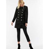 Monsoon Angela Peace Jacquard Coat - Black, Black, Size 12, Women