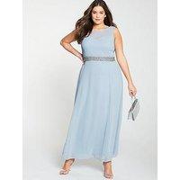 Little Mistress Curve Beaded Waist Bridesmaid Maxi Dress - Light Blue