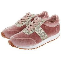 Monsoon Girls Cora Velvet Glitter Lace Up Trainer, Pink, Size 7 Younger